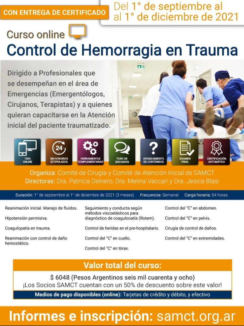 Curso online 'Control de Hemorragia en Trauma'